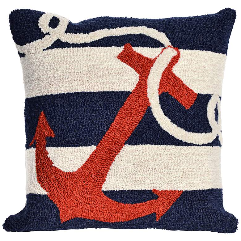 "Frontporch Anchor Navy 18"" Square Indoor-Outdoor Pillow"
