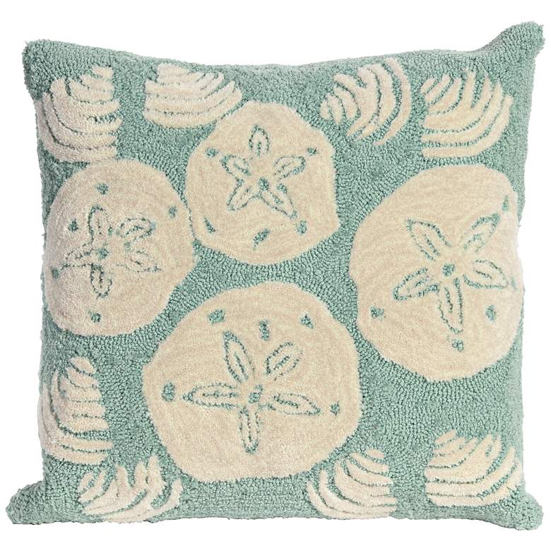"Frontporch Shell Toss Aqua 18"" Square Indoor-Outdoor Pillow"