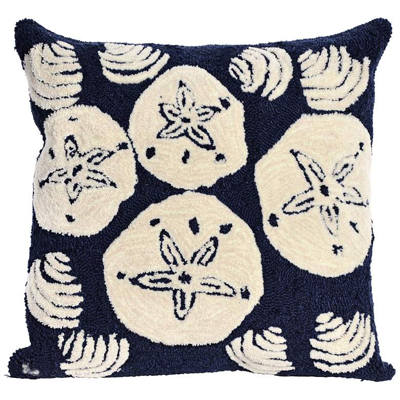 "Frontporch Shell Toss Navy 18"" Square Indoor-Outdoor Pillow"