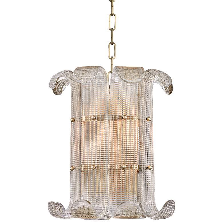 "Hudson Valley Brasher 14 1/2""W 4-Light Aged Brass Chandelier"