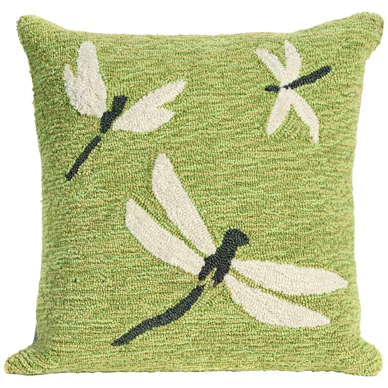 """Frontporch Dragonfly Green 18"""" Square Indoor-Outdoor Pillow"""
