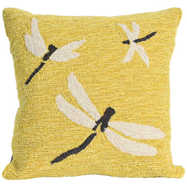 "Frontporch Dragonfly Yellow 18"" Square Indoor-Outdoor Pillow"