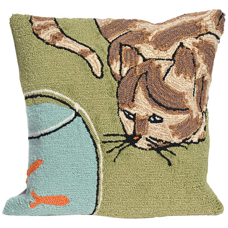 "Frontporch Curious Cat Green 18"" Indoor-Outdoor Pillow"