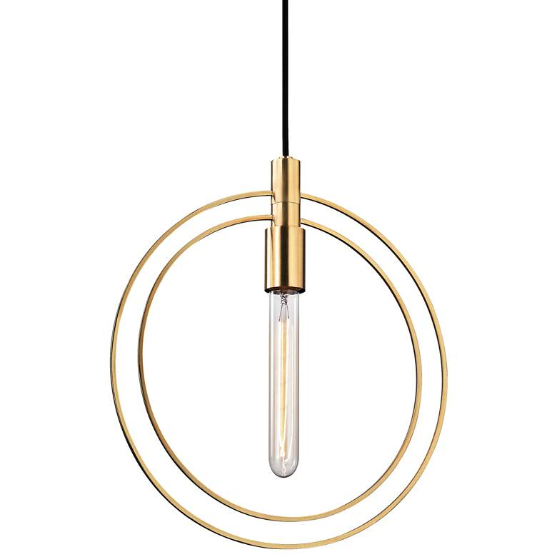 "Masonville 13 3/4"" Wide Aged Brass Pendant Light"