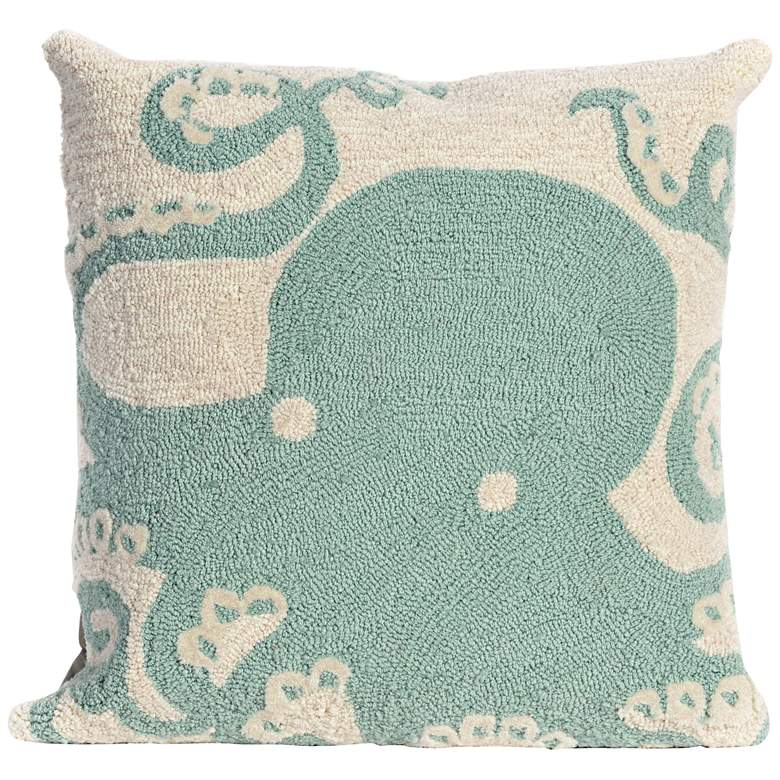 """Frontporch Octopus Aqua 18"""" Square Indoor-Outdoor Pillow"""