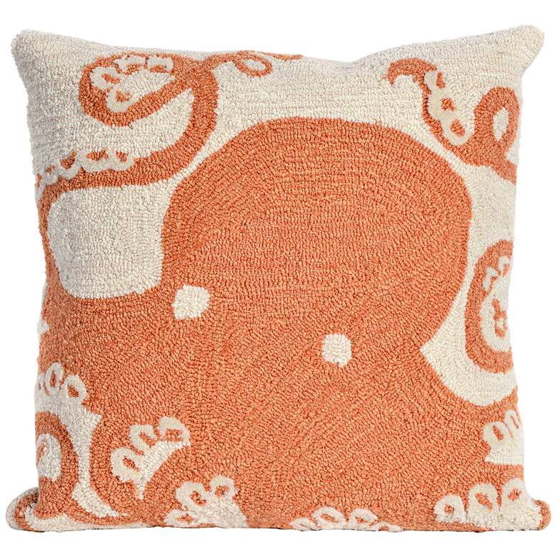 """Frontporch Octopus Coral 18"""" Square Indoor-Outdoor Pillow"""