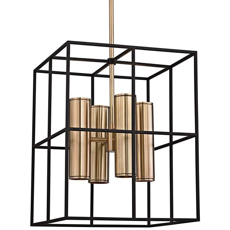 "Lagrange 18"" Wide Aged Brass and Black Pendant Light"