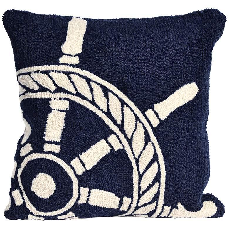 "Frontporch Ship Wheel Navy 18"" Square Indoor-Outdoor Pillow"