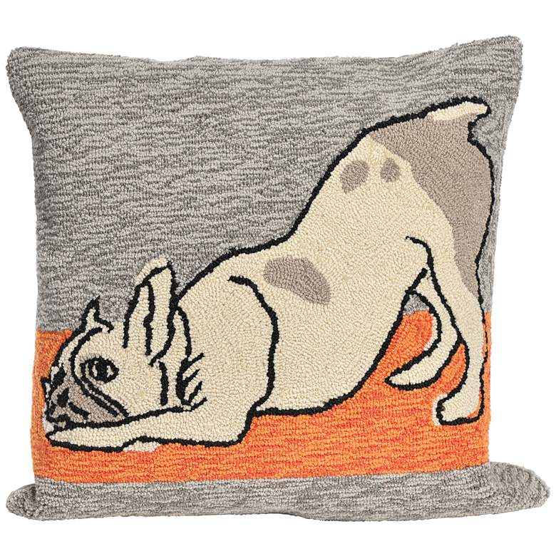 """Frontporch Yoga Dogs Heather 18"""" Indoor-Outdoor Pillow"""
