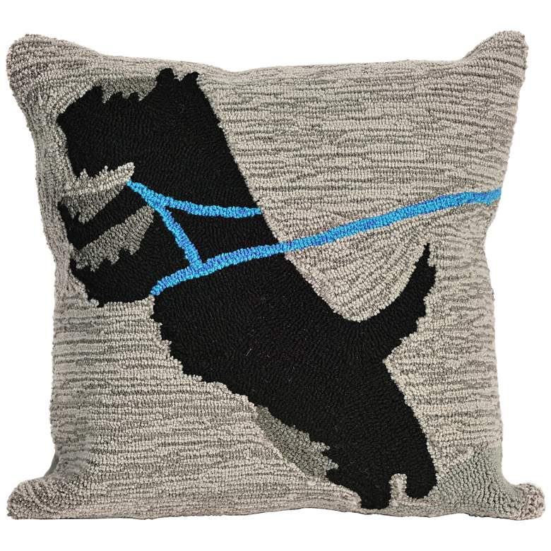 """Frontporch Who's Walking Who Gray 18"""" Indoor-Outdoor Pillow"""