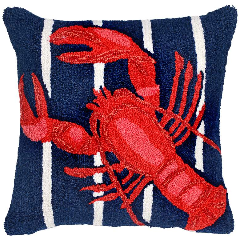 """Frontporch Lobster on Stripes Navy 18"""" Indoor-Outdoor Pillow"""