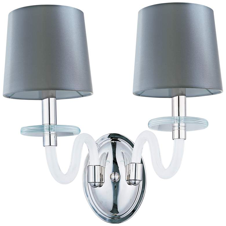 """Maxim Venezia 14""""H Nickel Frosted Glass 2-Light Sconce"""