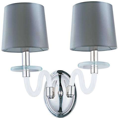 "Maxim Venezia 14""H Nickel Frosted Glass 2-Light Sconce"