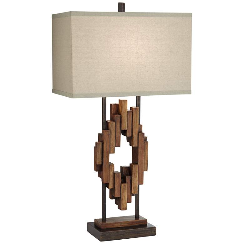 Bonanza Faux Distressed Wood Table Lamp