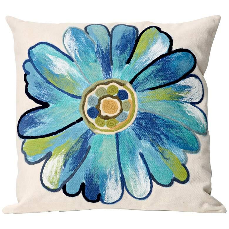 "Visions III Daisy Aqua 20"" Square Indoor-Outdoor Pillow"
