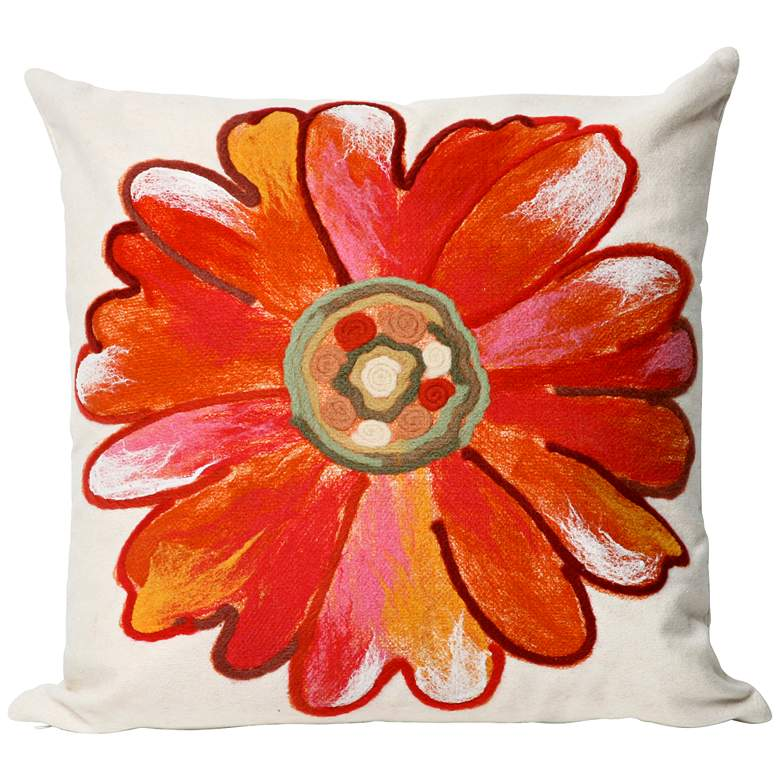 "Visions III Daisy Orange 20"" Square Indoor-Outdoor Pillow"