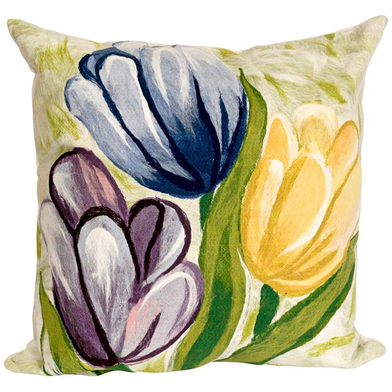 """Visions III Tulips Cool 20"""" Square Indoor-Outdoor Pillow"""