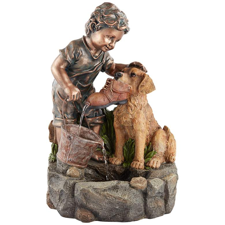 """Northport 24 3/4"""" High Boy Plays with Dog Outdoor Fountain"""