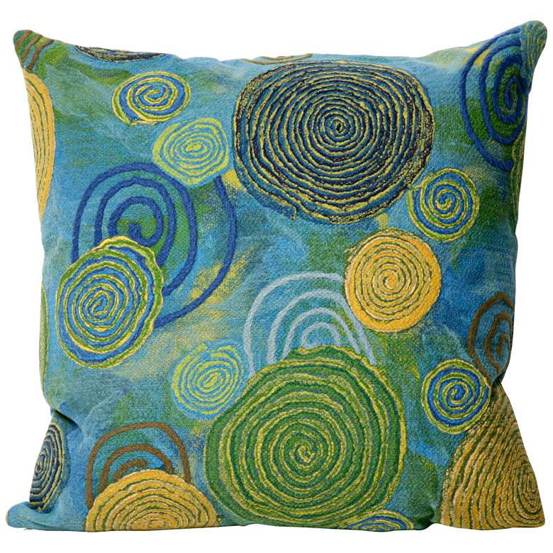"""Visions III Blue-Green 20"""" Square Indoor-Outdoor Pillow"""
