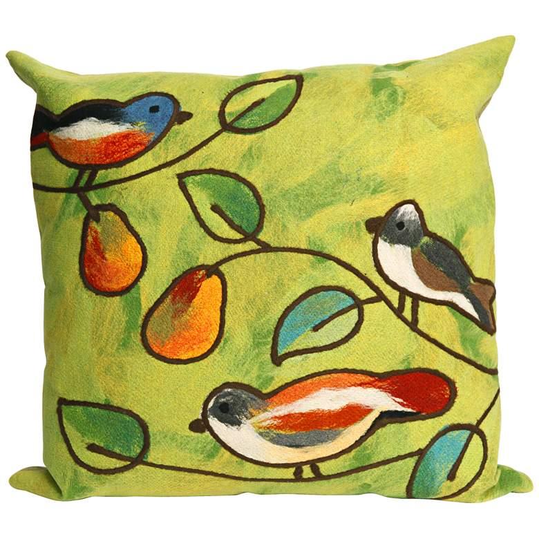 """Visions III Song Birds Green 20"""" Indoor-Outdoor Pillow"""
