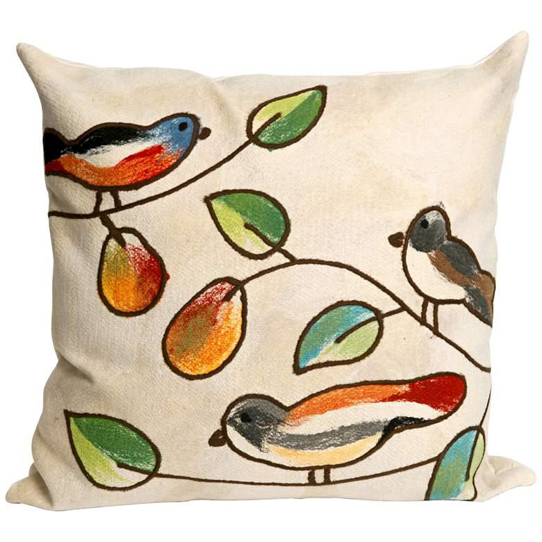 """Visions III Song Birds Cream 20"""" Indoor-Outdoor Pillow"""