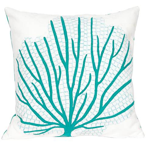 """Visions III Coral Fan Aqua 20"""" Square Outdoor Throw Pillow"""
