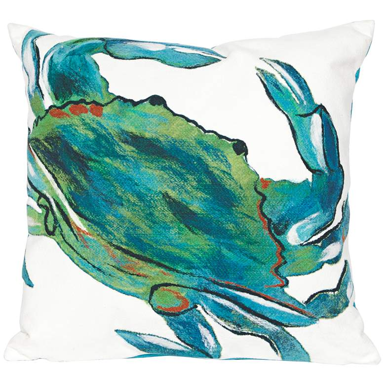 """Visions III Blue Crab Sea 20"""" Square Indoor-Outdoor Pillow"""
