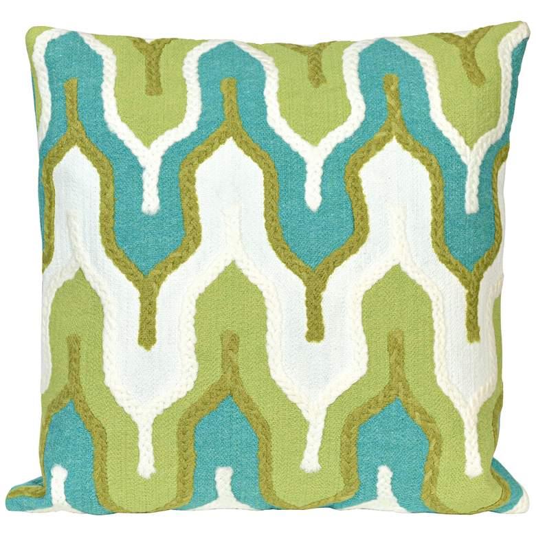 """Visions III Crochet Tower Green 20"""" Indoor-Outdoor Pillow"""