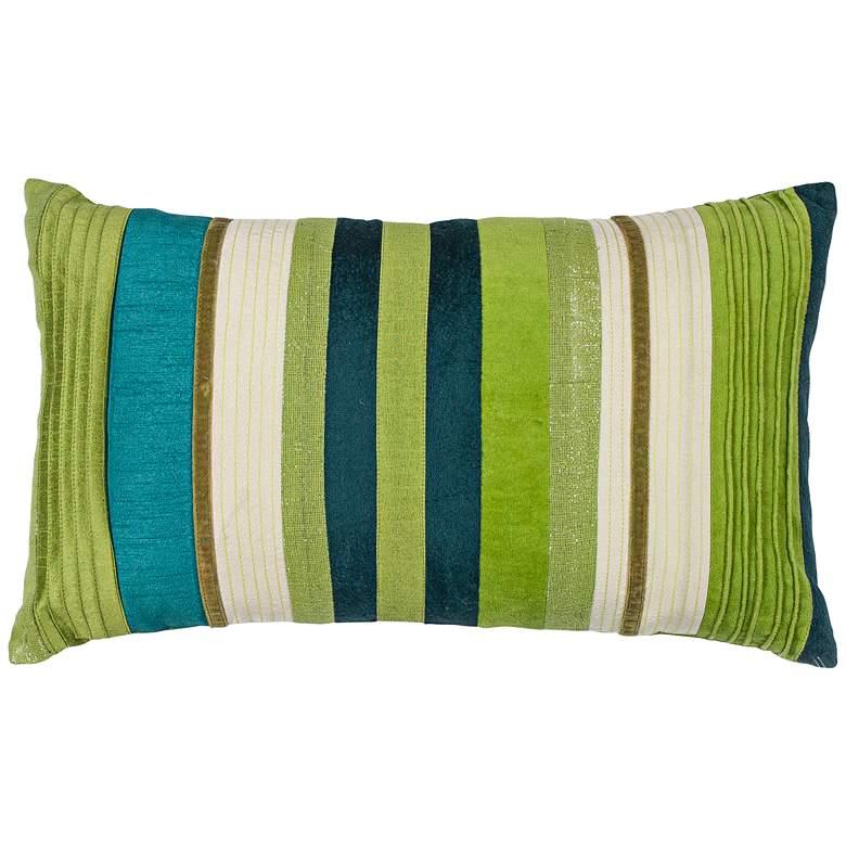 "Verdant Teal Green 20"" Wide Rectangle Decorative Pillow"