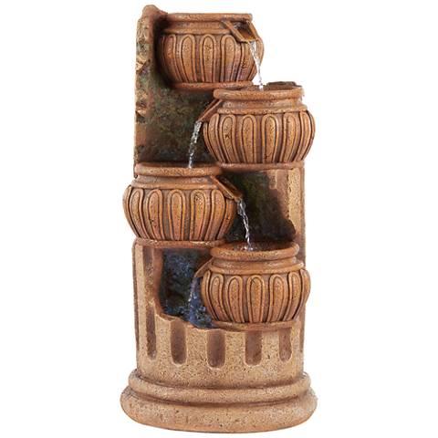 """Smithtown28""""H Stone Four Roman Columns LED Outdoor Fountain"""