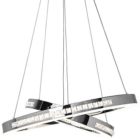 "Affluence 23 3/4"" Wide Chrome LED Dual Ring Pendant Light"