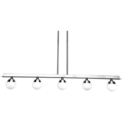 "Classic 43"" Wide Chrome 5-Light LED Island Pendant"