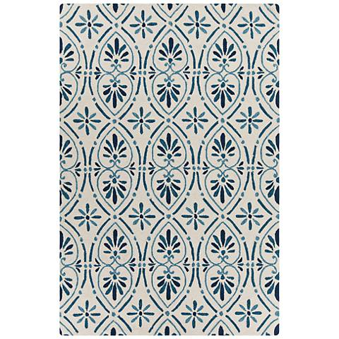 Chandra Terra Cream and Blue Outdoor Area Rug