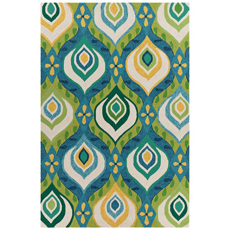 """Chandra Terra 5'x7'6"""" Green, Blue and Yellow Area Rug"""