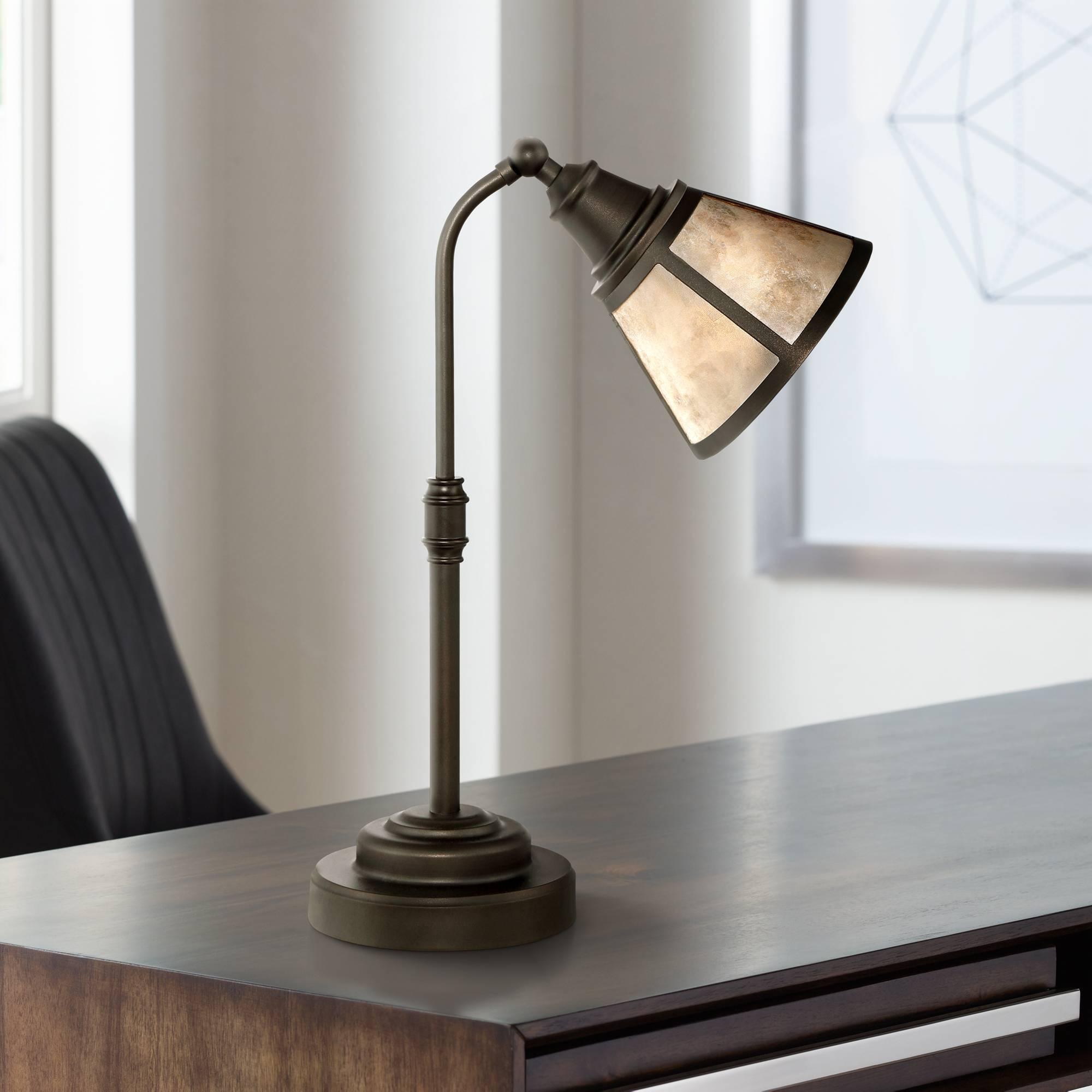Farmhouse Desk Lamp Satin Bronze Blond Mica Shade For Living Room Bedroom Office 736101843283 Ebay