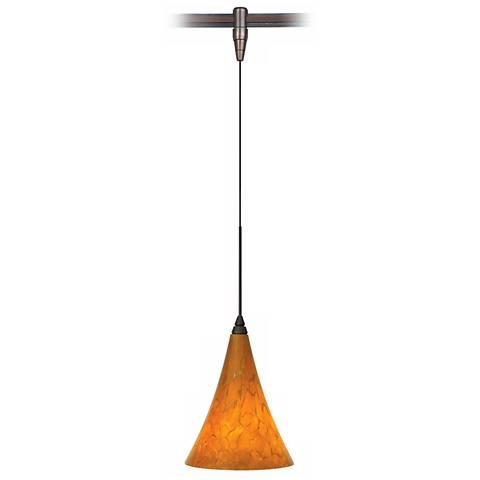 "Melrose 7""W Antique Bronze LED Monorail Mini Pendant"