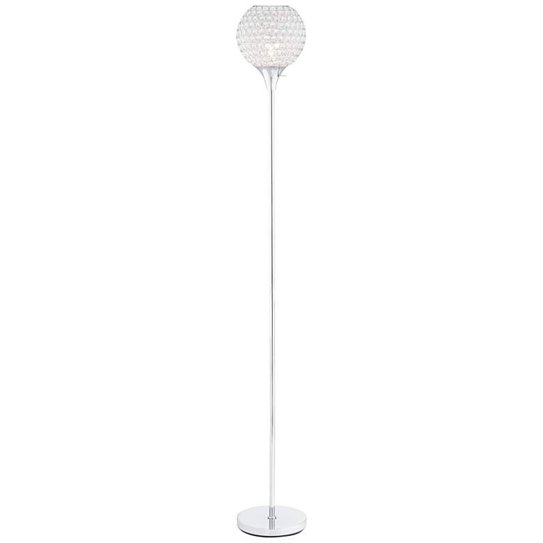 Kryss Chrome and Beaded Acrylic Torchiere Floor Lamp