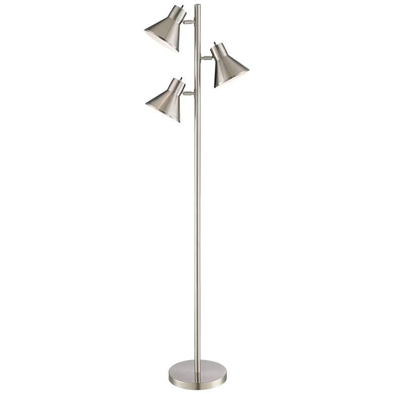 Luken Brushed Nickel Adjustable 3-Light Tree Floor Lamp