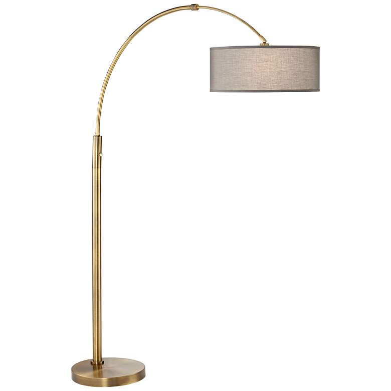 9M813 - Brushed Antique Brass Arch Finish Metal Floor Lamp