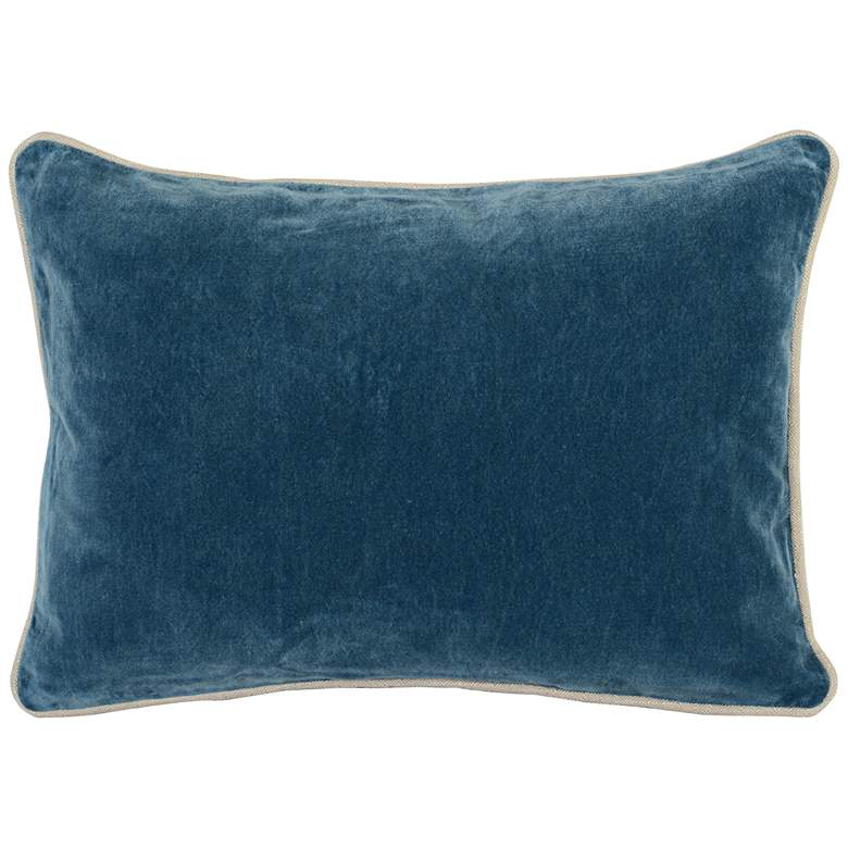 "Cool Blue 20"" x 14"" Cotton Velvet Throw Pillow"