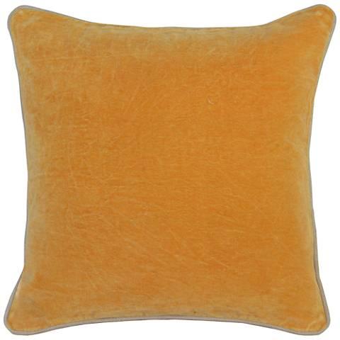 "Mango Yellow-Orange 18"" Square Velvet Accent Pillow"