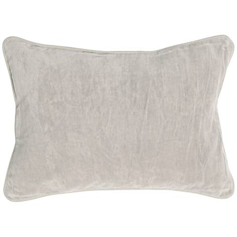 "Fog Light Gray 20"" x 14"" Cotton Velvet Throw Pillow"