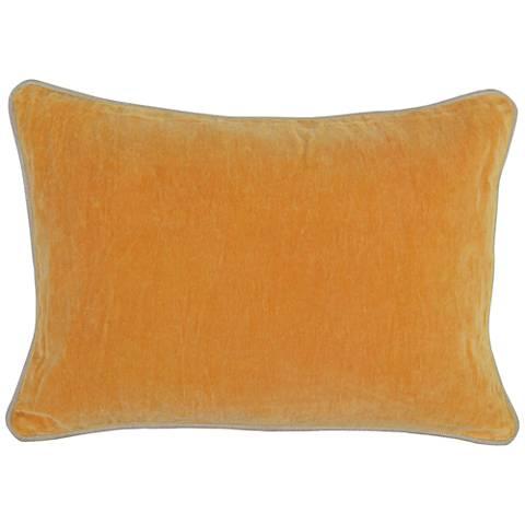 """Mango Yellow-Orange 20"""" x 14"""" Cotton Velvet Throw Pillow"""