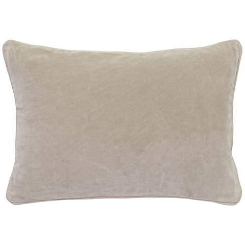 "Natural Warm Gray 20"" x 14"" Cotton Velvet Throw Pillow"