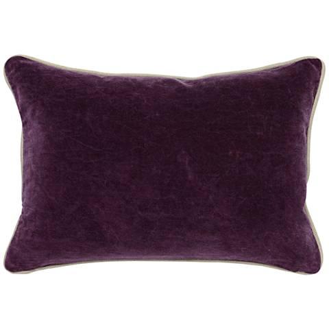 "Deep Plum Purple 20"" x 14"" Cotton Velvet Throw Pillow"