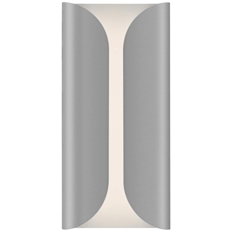 """Folds 13 3/4"""" High Textured Gray Outdoor LED Wall Light"""