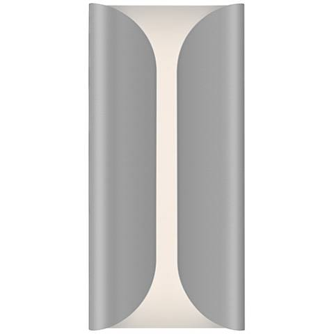 "Folds 13 3/4"" High Textured Gray Outdoor LED Wall Light"