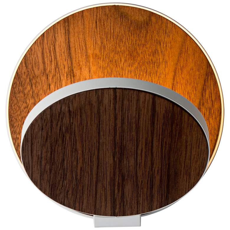 """Koncept Gravy 5""""H White and Walnut Swivel LED Wall Sconce"""
