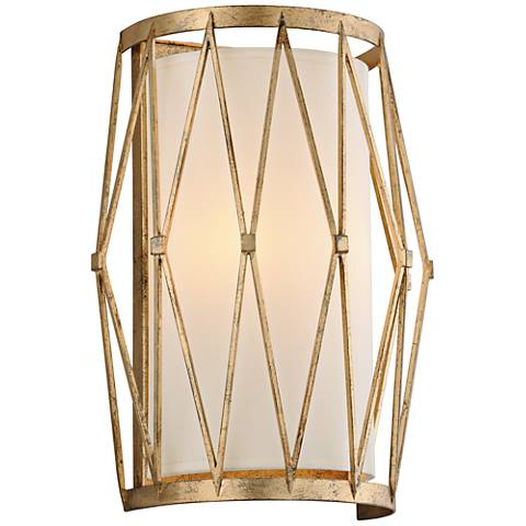 "Calliope 13"" High Rustic Gold Leaf Wall Sconce"