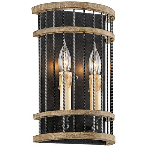 """Vineyard 13"""" High Rusty Iron with Salvaged Wood Wall Sconce"""